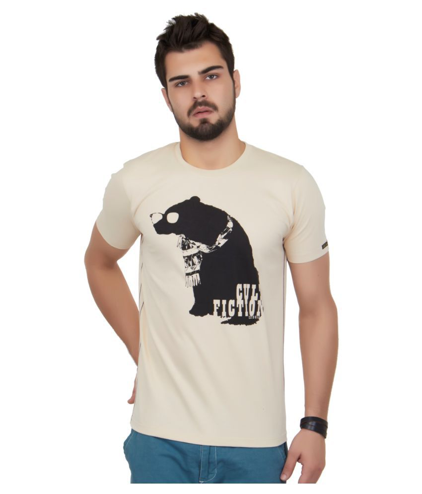 Cult Fiction Beige Round T-Shirt