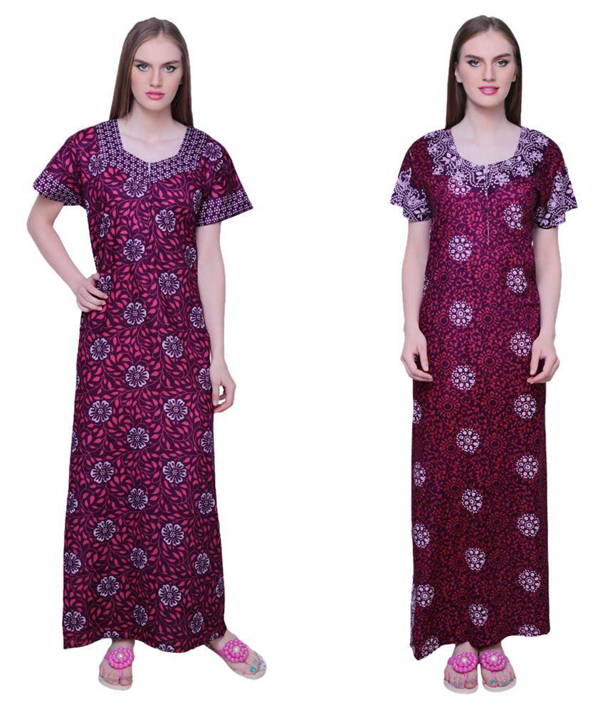 Simrit Purple Cotton Nighty & Night Gowns