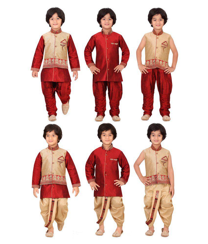 Jeet Multicolor Silk Kurta Pyjama and Dhoti Set - Pack of 6