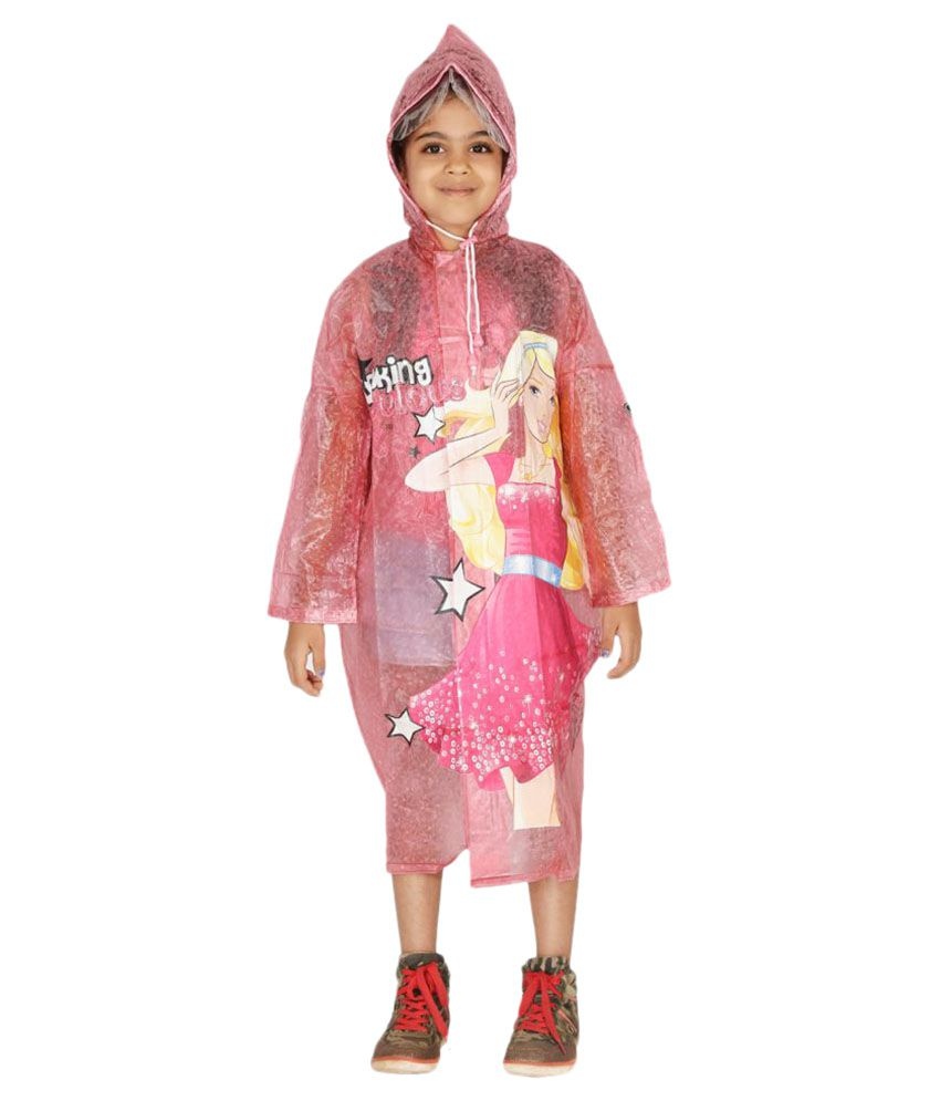 Zeel Pink Barbie Printed Raincoat for Girls