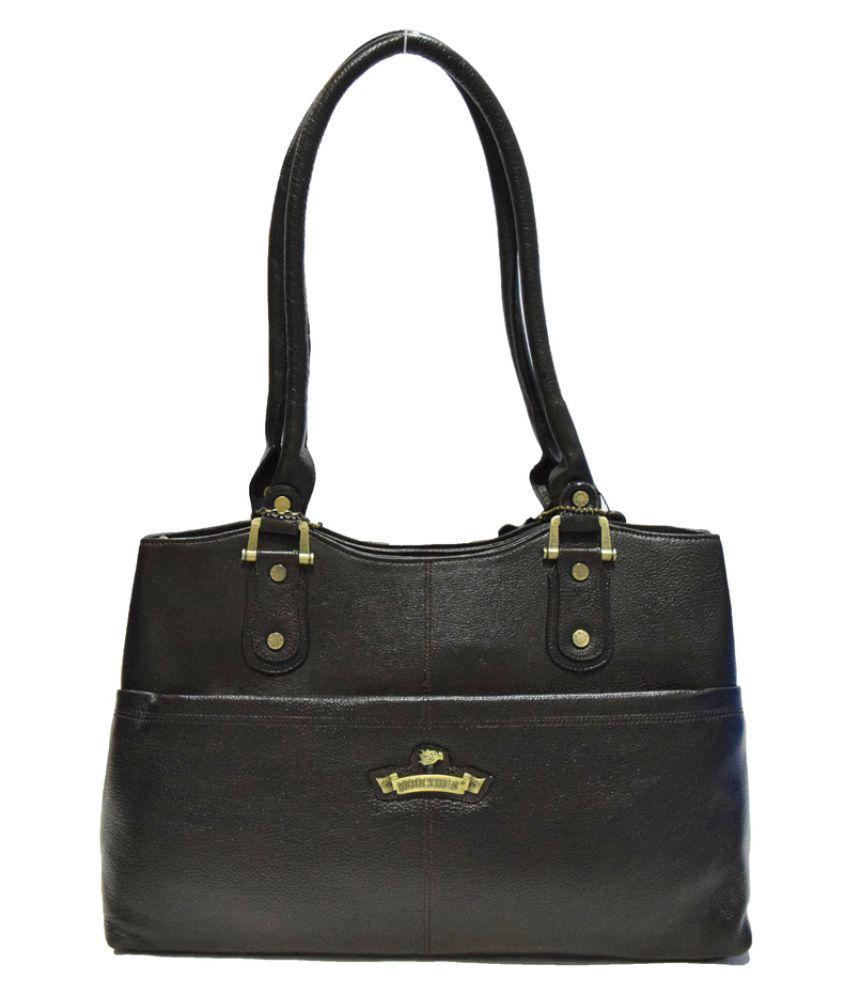 Moochies Black Pure Leather Shoulder Bag