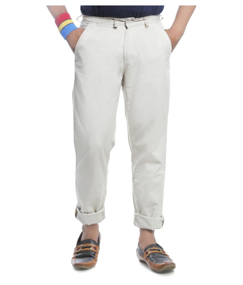 Burbn Off White Regular Flat Trouser