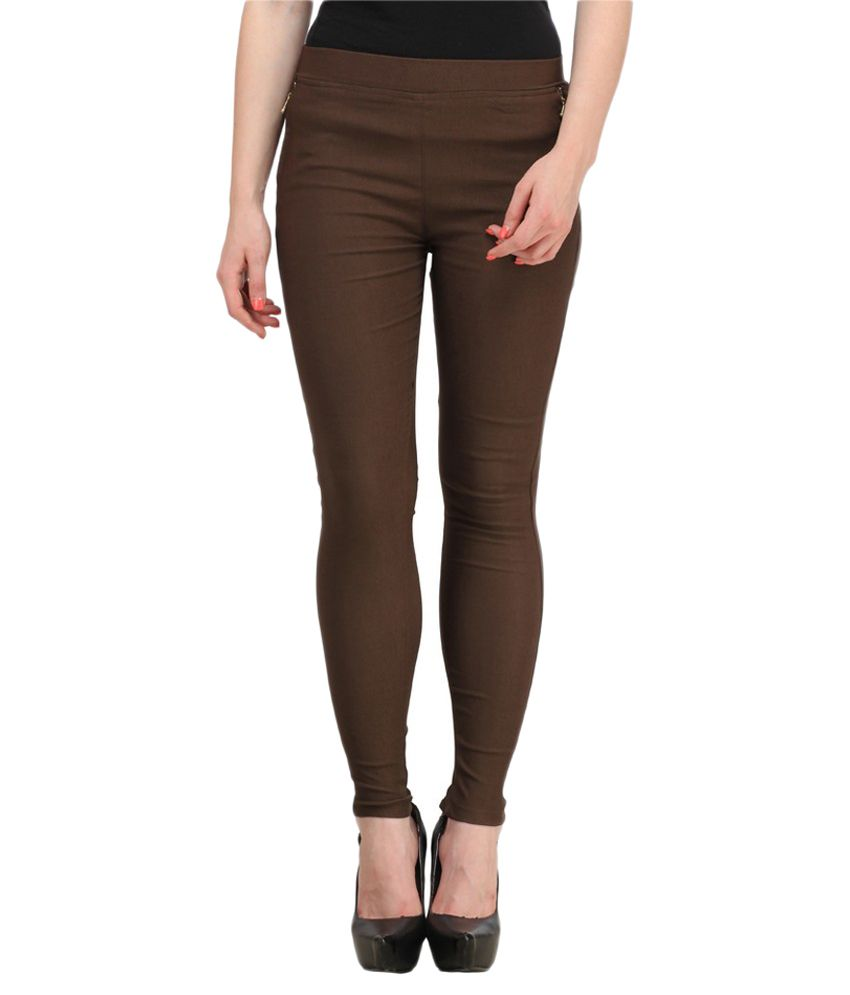 Harshaya G Brown Cotton Lycra Jeggings