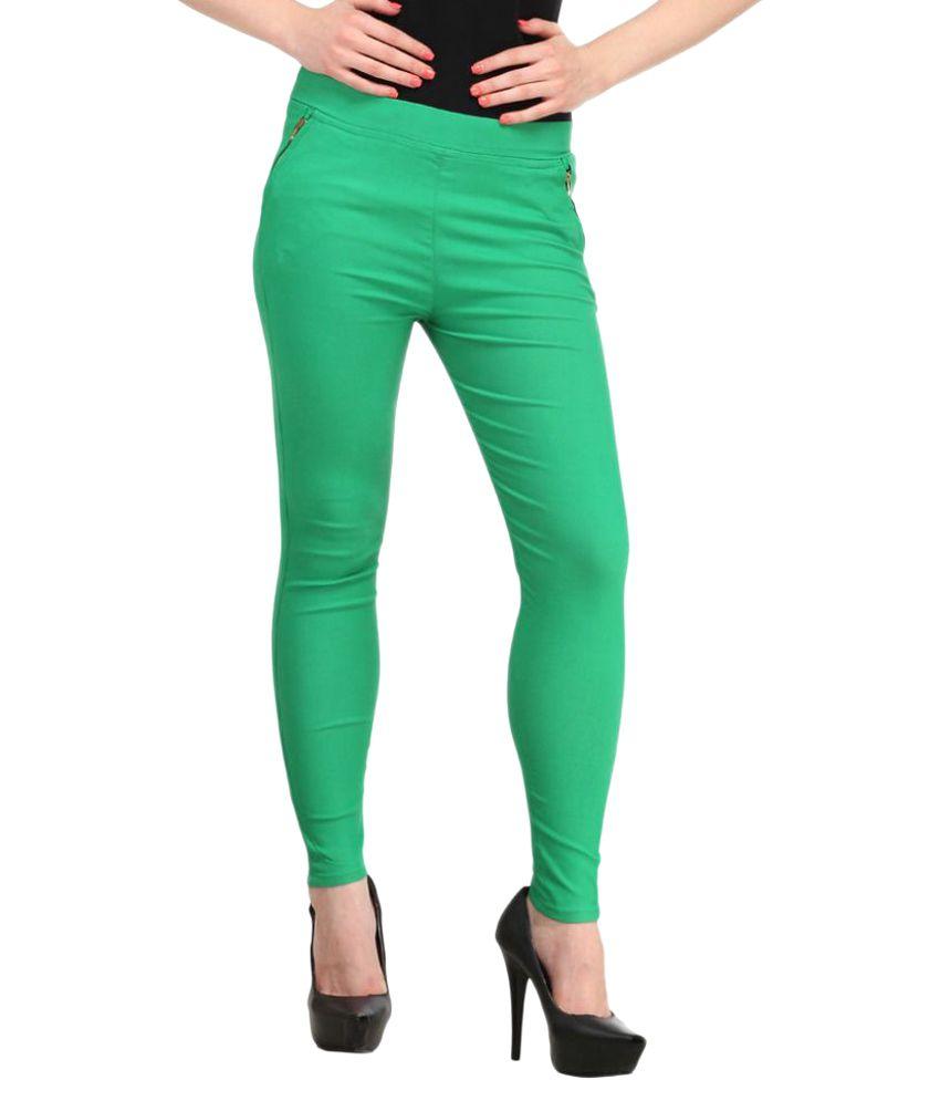 Harshaya G Green Cotton Lycra Jeggings