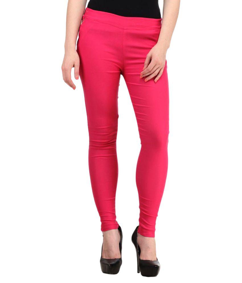 Harshaya G Pink Cotton Lycra Jeggings