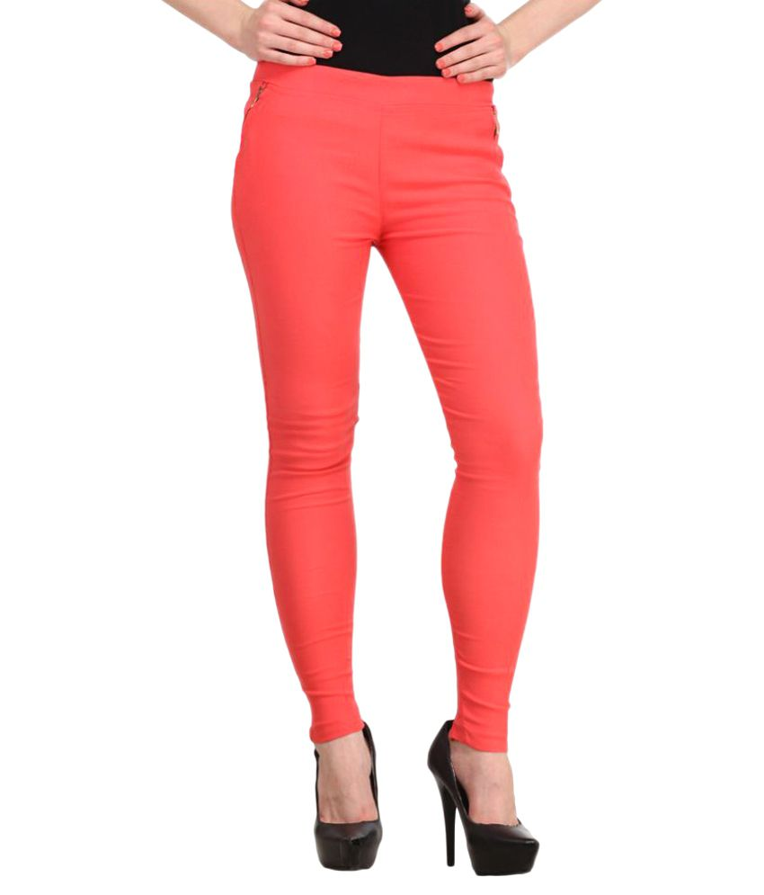 Harshaya G Red Cotton Lycra Jeggings