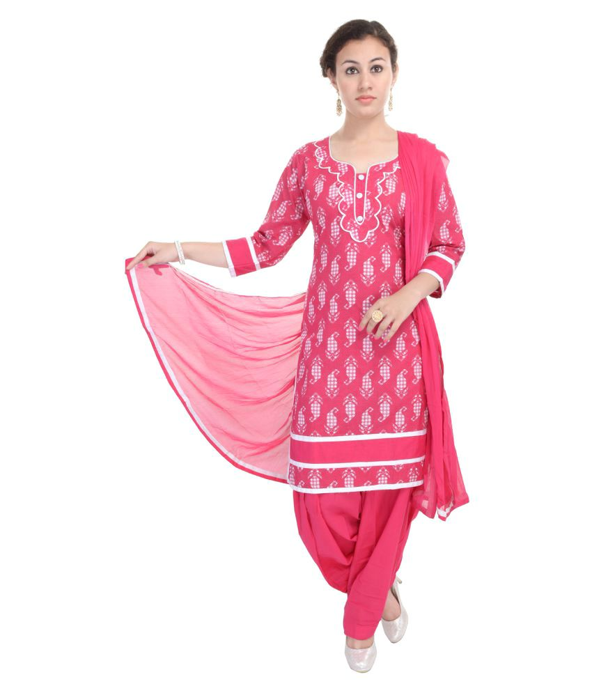Aafra Fashion Pink Cotton Straight