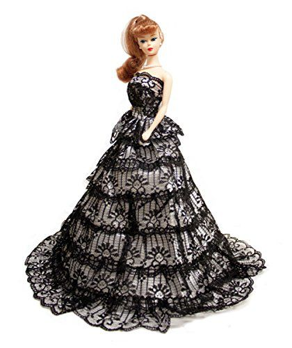 Barbie Black & White Gown with Ruffles Ball Gown, Barbie Wedding ...
