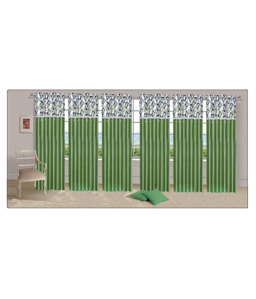 Stella Creations Set of 6 Eyelet Curtain Printed Green