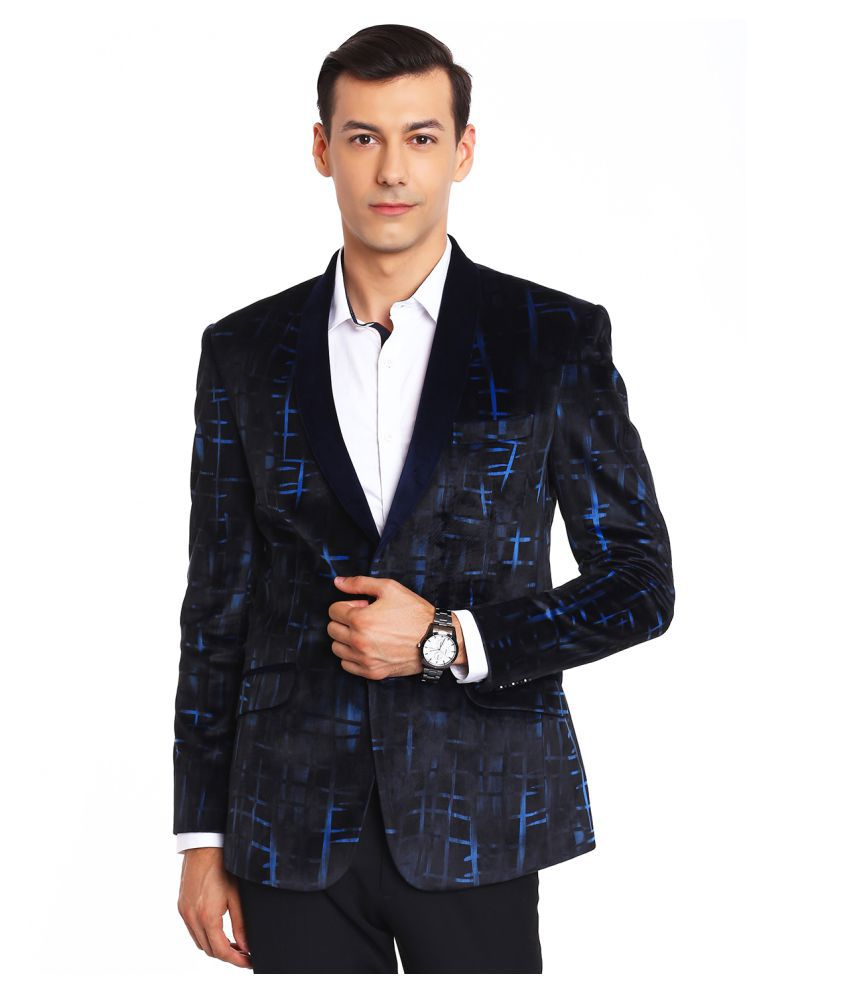 Canary London Black Printed Casual Tuxedo