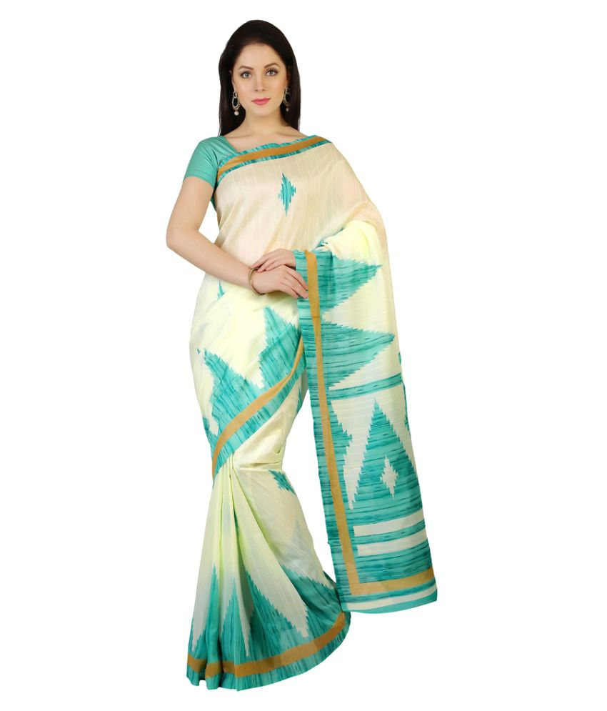 Apple Creation Beige Bhagalpuri Silk Saree