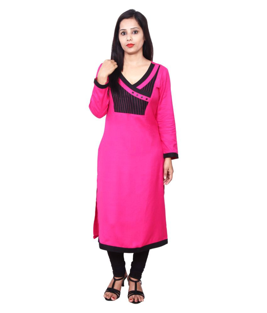 Harshaya G Neon Pink Rayon A-line Patch work Kurti