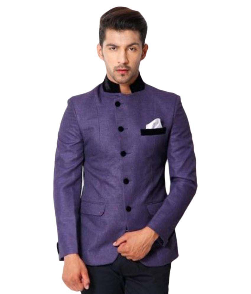 Stylish Maan Blazer Purple Self Design Party Tuxedo
