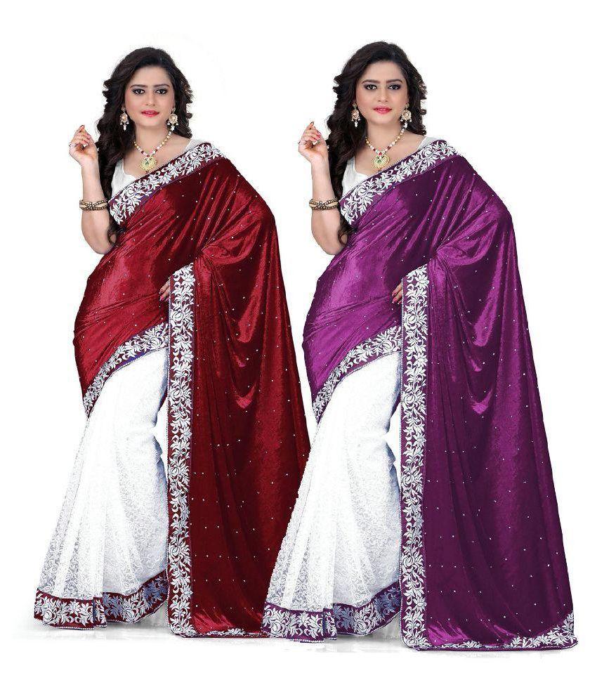Kesar Sarees Multicoloured Velvet Saree Combos