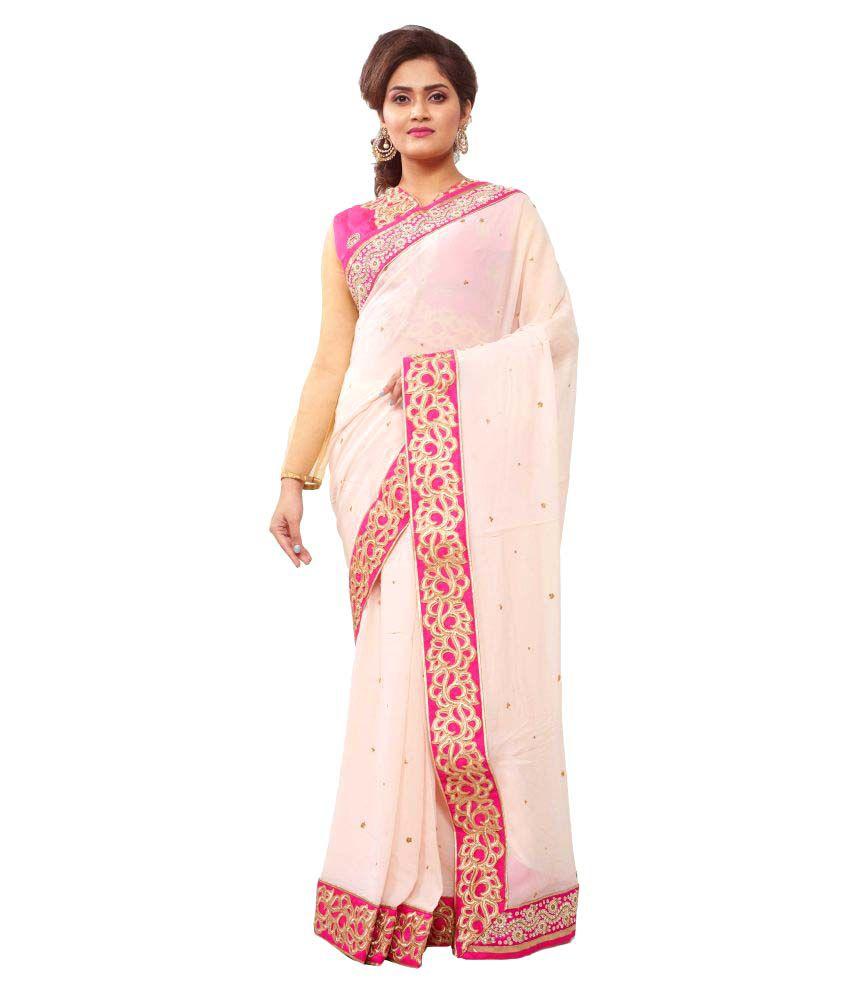 Avinandan Fashions Pink Georgette Saree