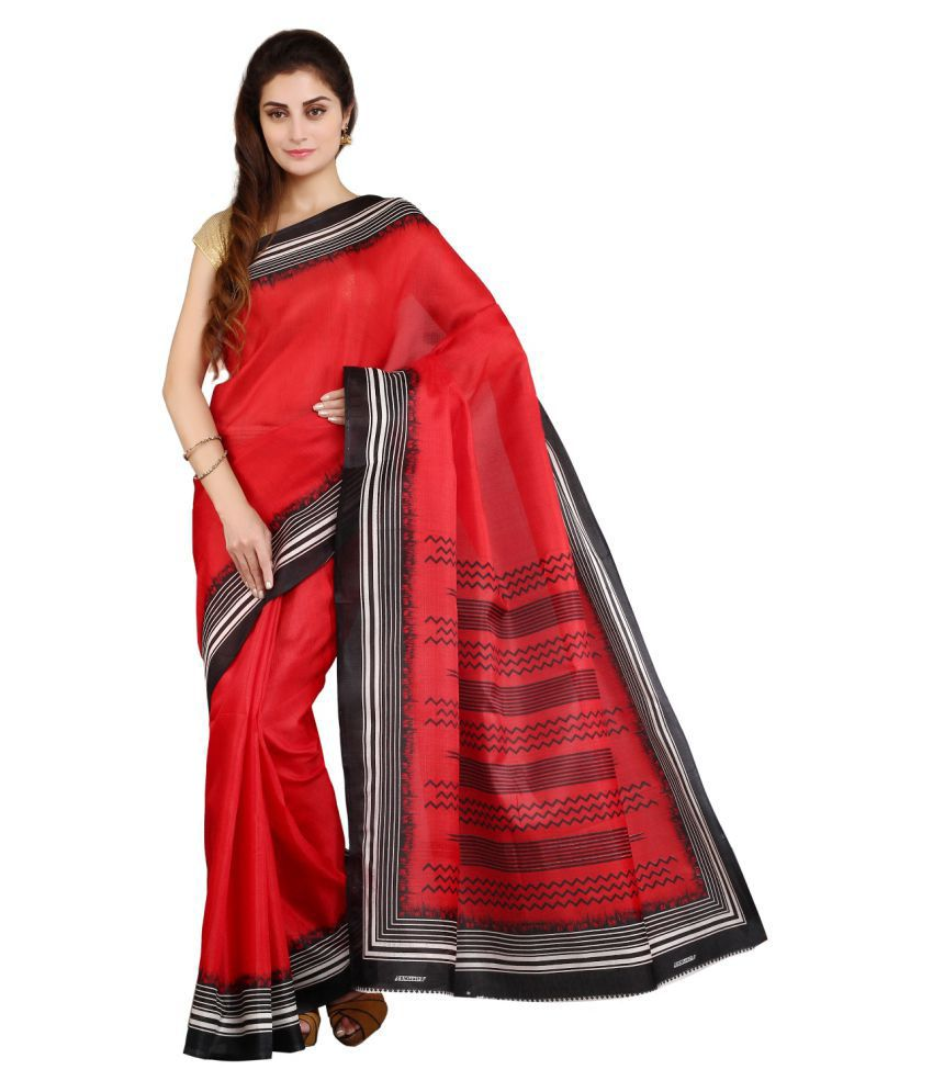 Satrang Red Art Silk Saree