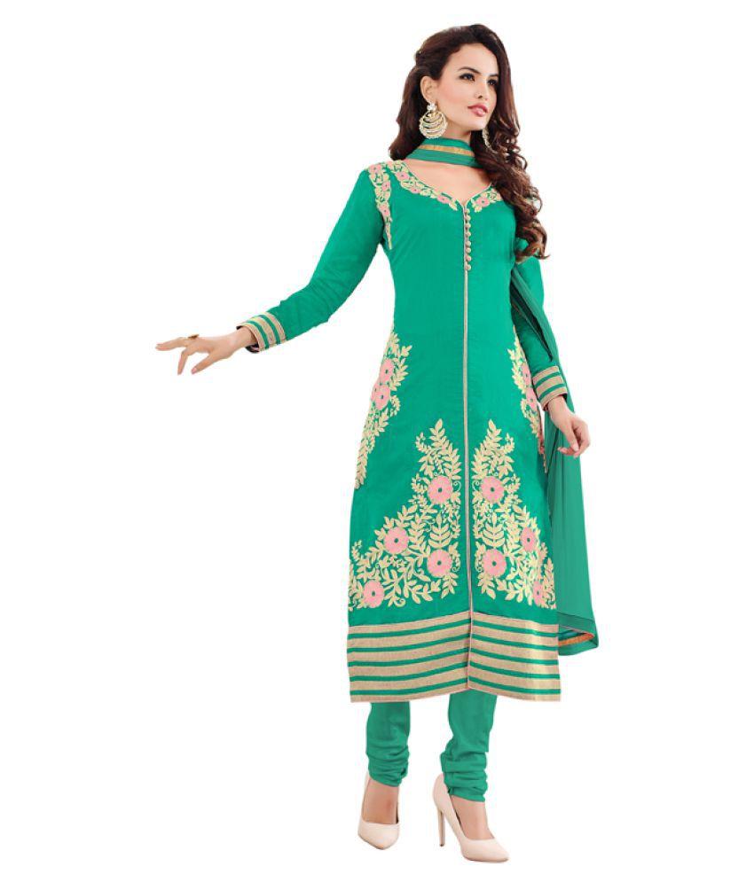Varayu Sea Green Chanderi Dress Material