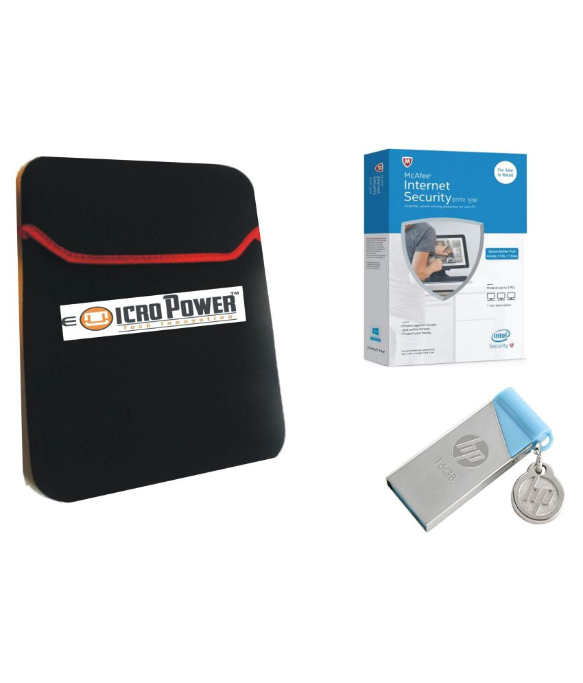 E Micro Combo Of  Black Laptop Sleeve with McAfee Internet Security (3 PC/1 year)And Pendrive HP 16 GB