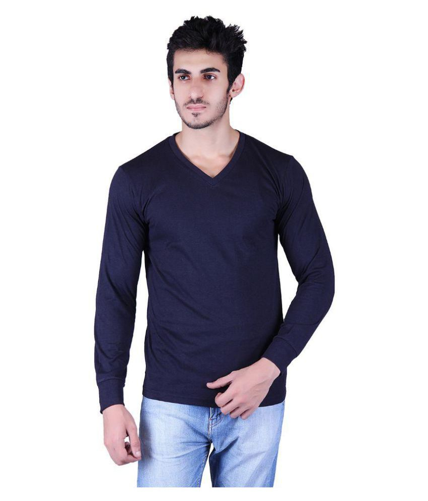 Vivid Bharti Blue V-Neck T-Shirt