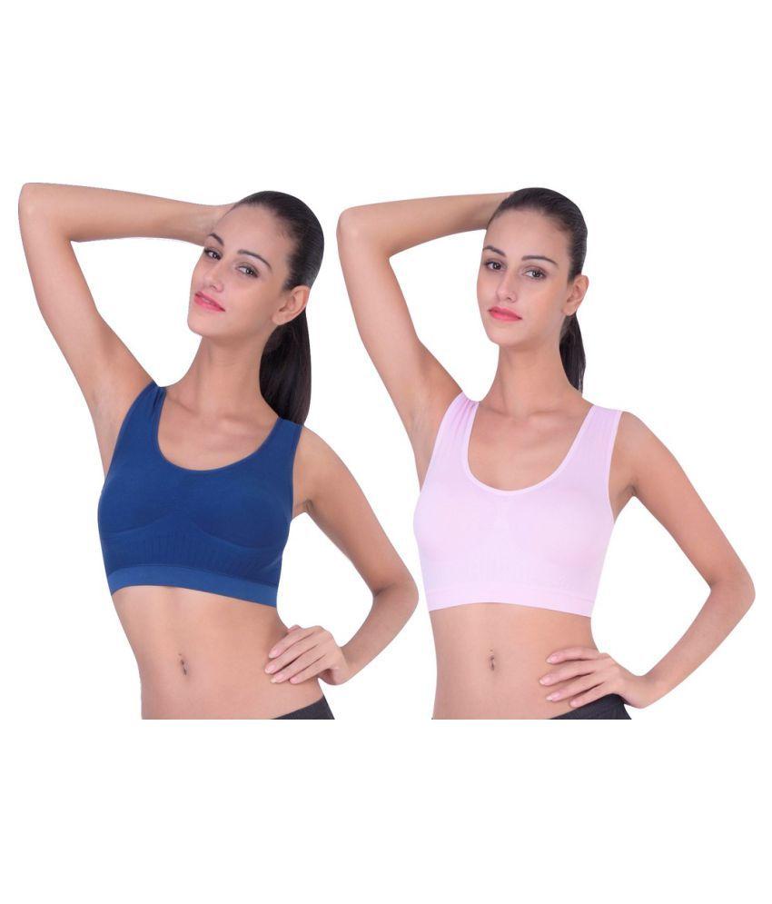 Piftif Multi Color Poly Cotton T-Shirt/ Seamless Sports Bra