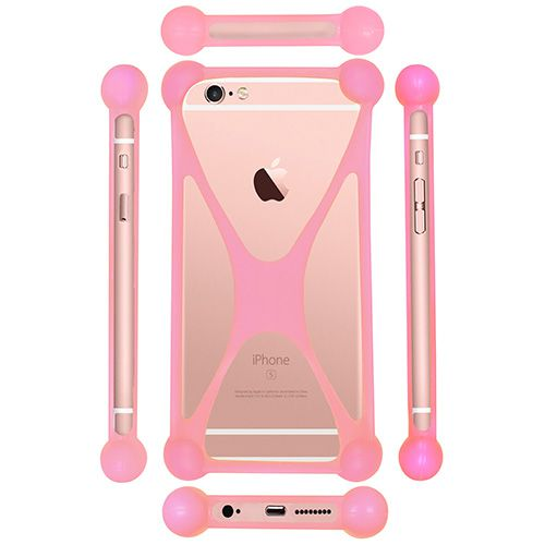 Casotec Universal Silicone Bumper Frame Soft Gel Phone Case Cover for Micromax Canvas A311 - Baby Pink