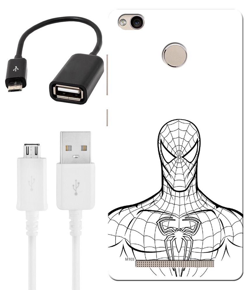Finest Combo of Super Hero HD UV Printed Mobile Back Cover, Charging Cable and OTG Cable For Xiaomi Redmi 3s