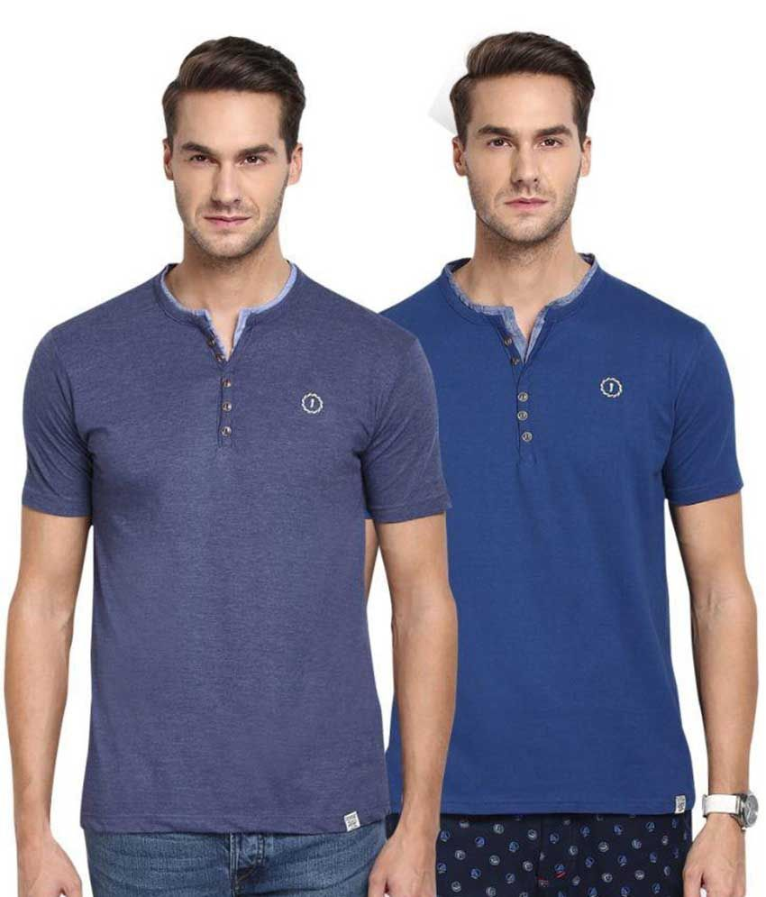 Joven Blue Henley T-Shirt Pack of 2