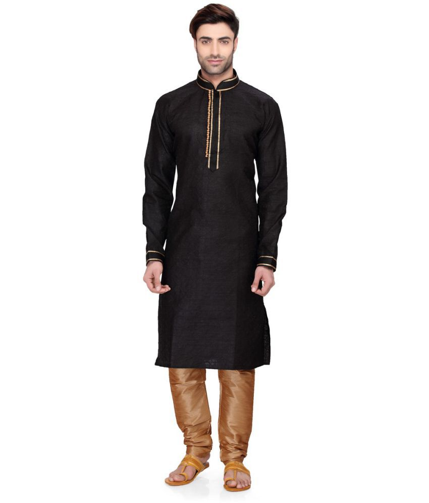 RG Designers Black Cotton Kurta Pyjama Set
