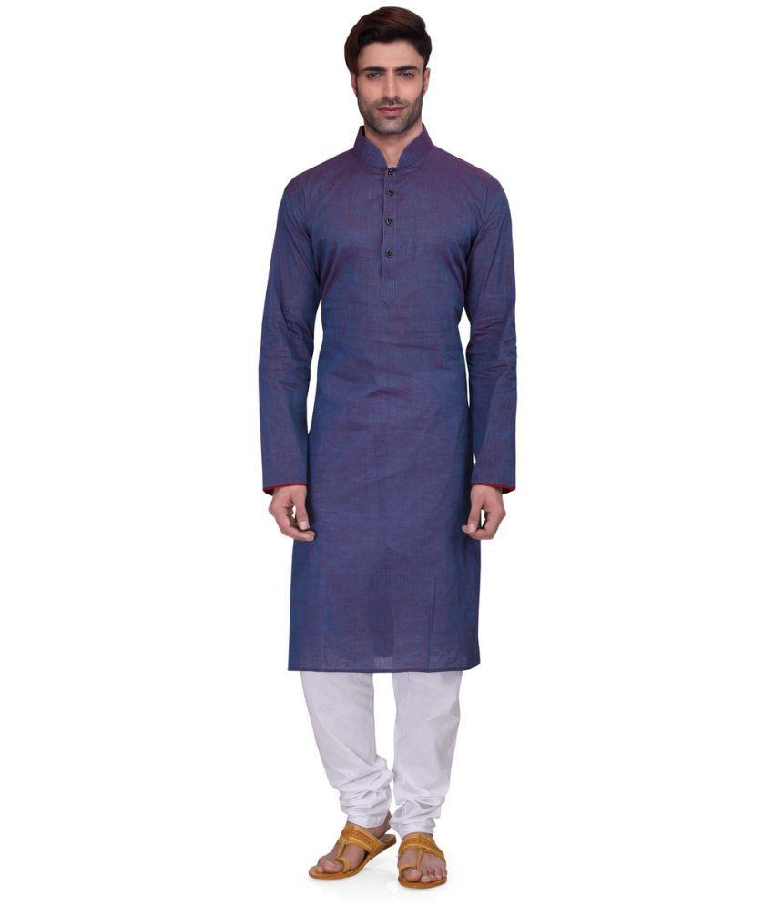 RG Designers Blue Cotton Kurta Pyjama Set