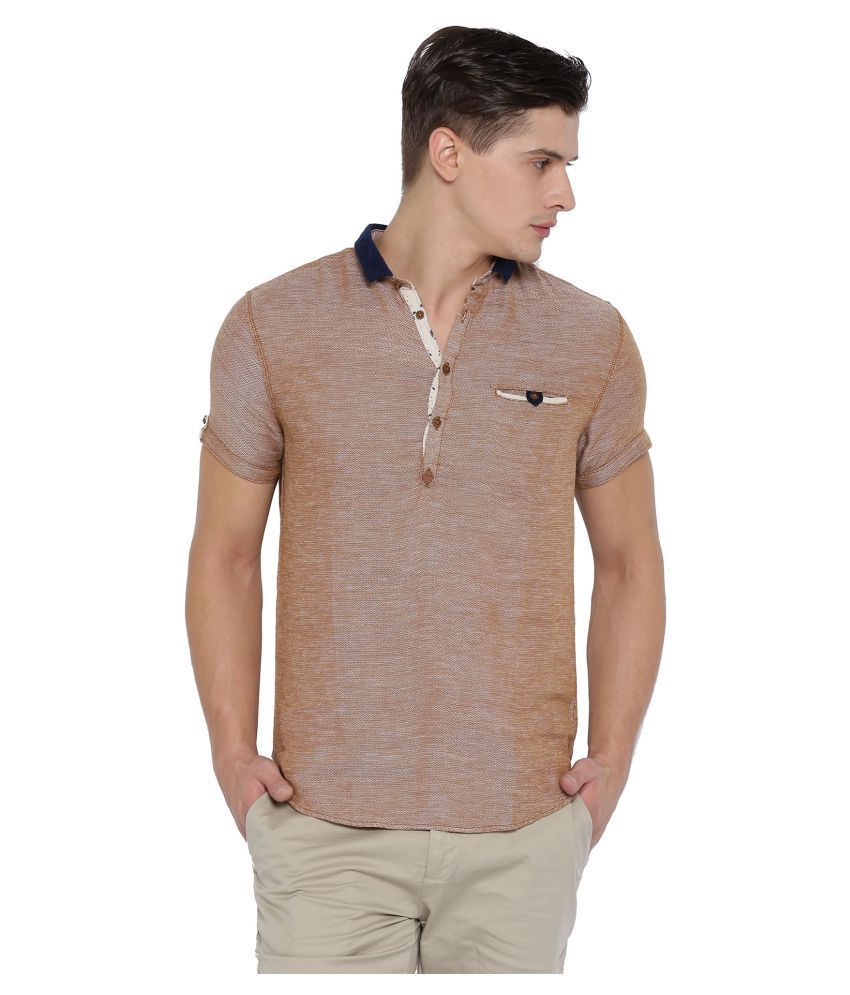 Showoff Brown Casuals Slim Fit Shirt