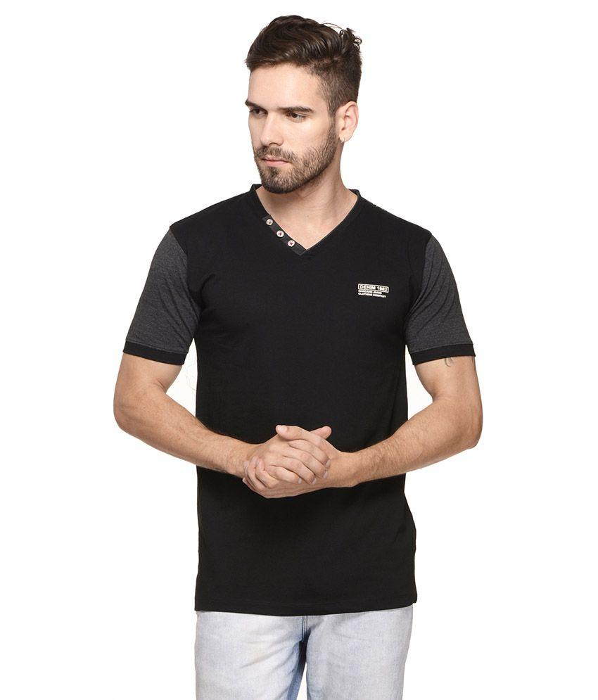 Mode Vetements Black V-Neck T-Shirt