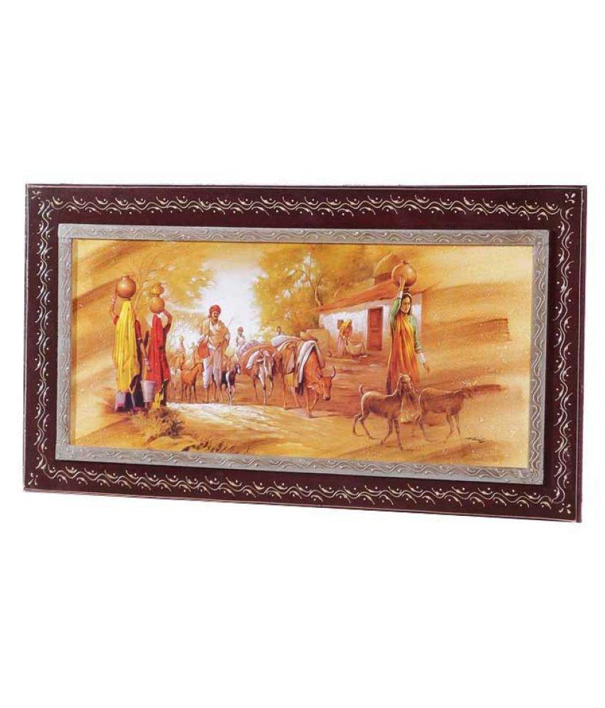 Angel Decor Rajput Art Wood Painting With Frame Single Piece