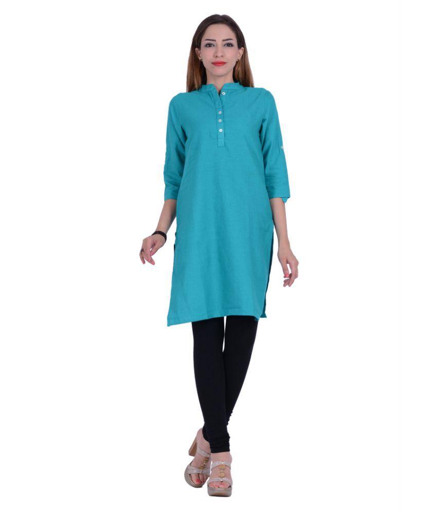Piya Garments Blue Cotton Straight Kurti