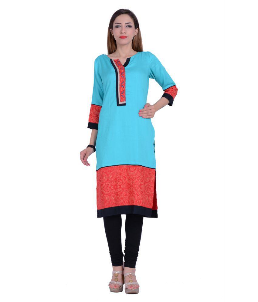 Piya Garments Blue Rayon Straight Kurti