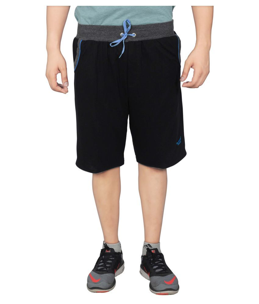 NNN Black Cotton Shorts for Men