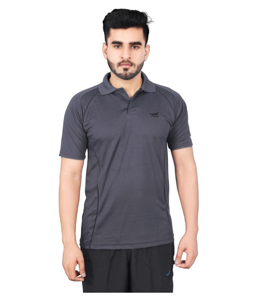 NNN Grey Polyester Half Sleeves Polo T-Shirt