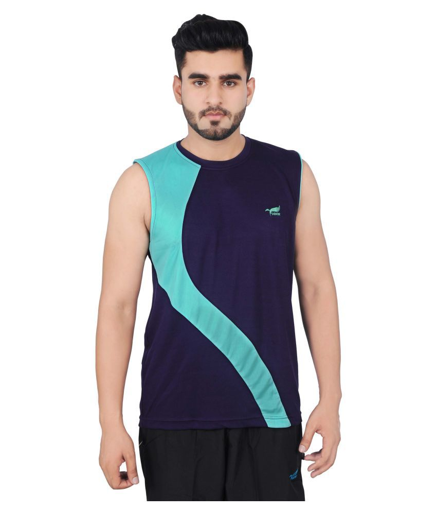 NNN Men's Navy Blue Sleeveless Dry Fit T-shirt