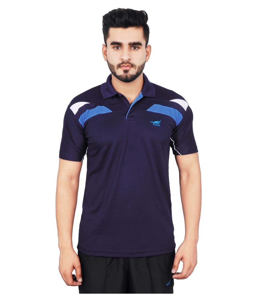 NNN Navy Polyester Polo T-Shirt for Men