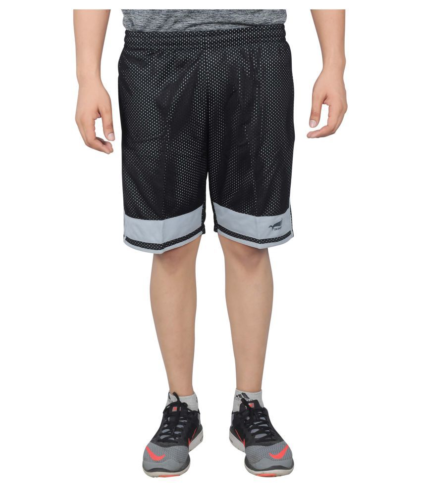 NNN Black Polyester Shorts for Men