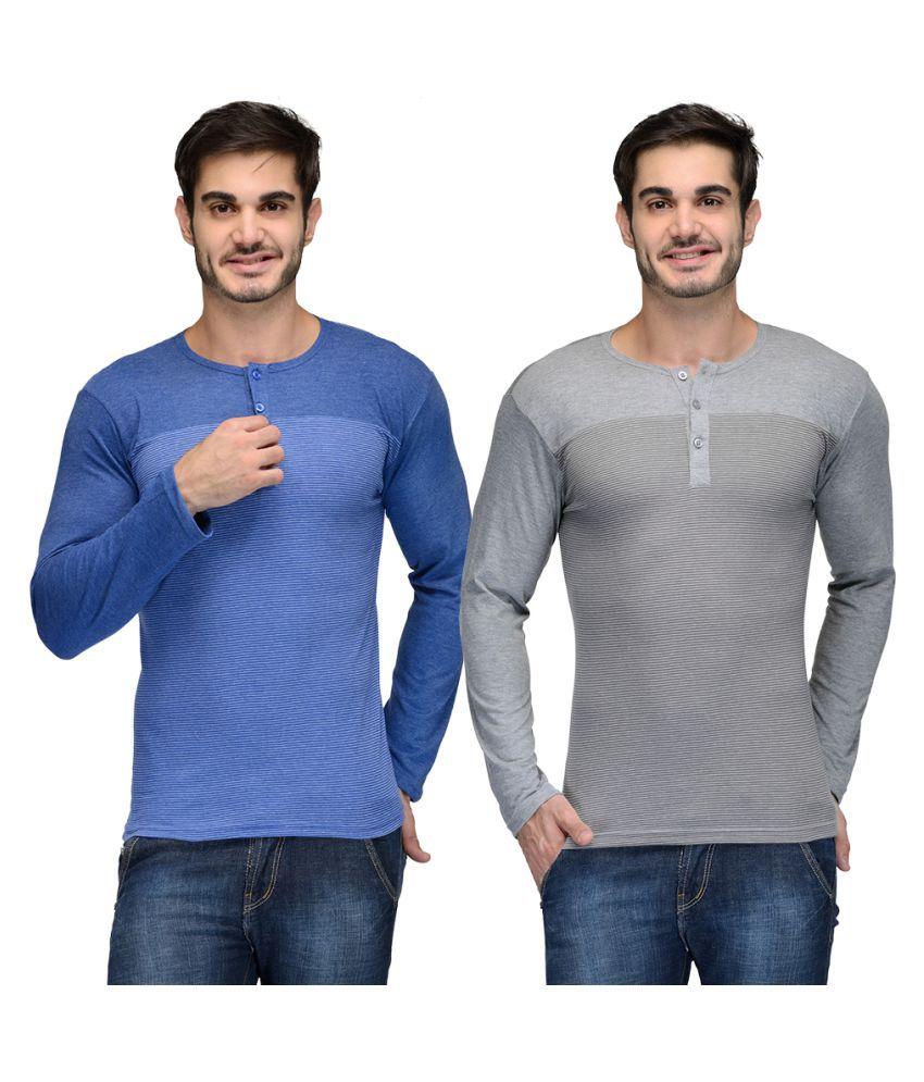 Teesort Multi Henley T-Shirt Pack of 2