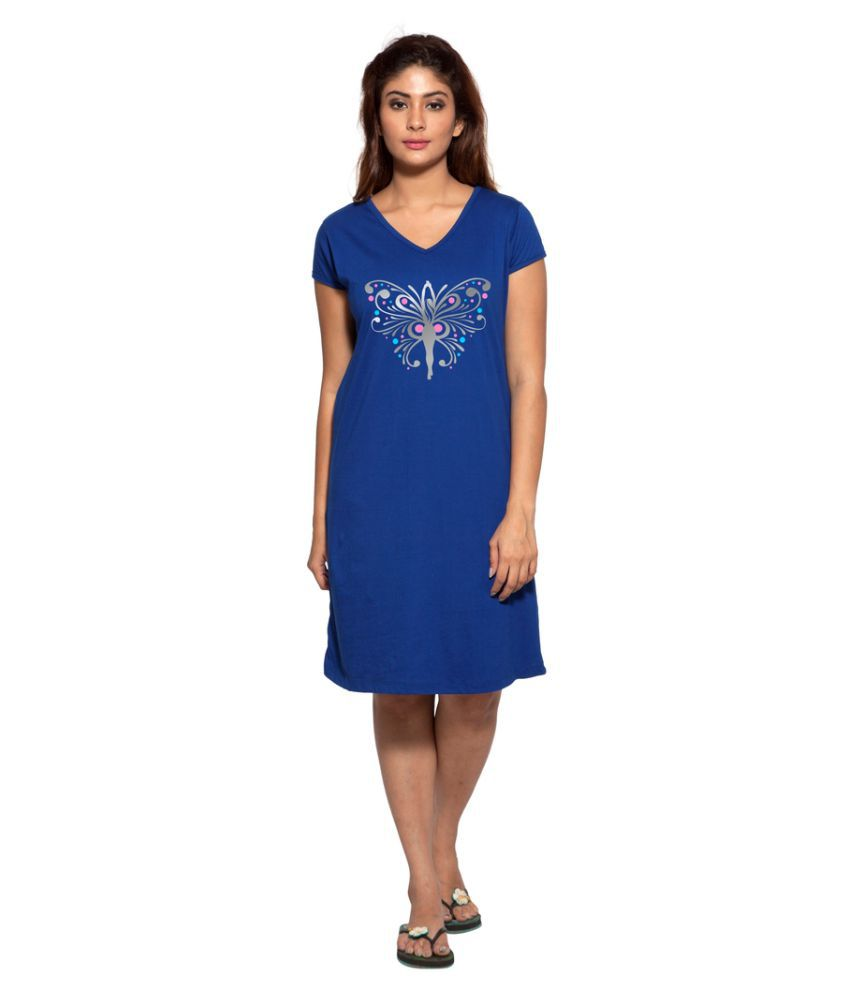 Clifton Blue Cotton Nighty & Night Gowns