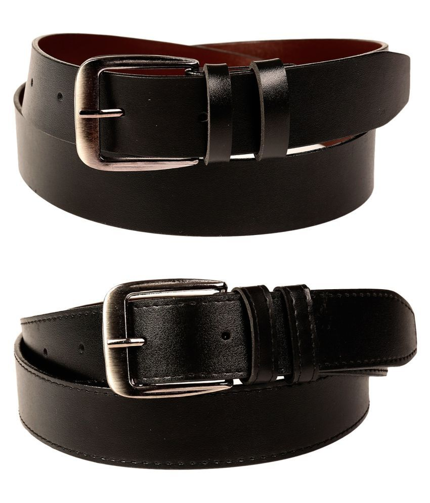 Fedrigo Black Faux Leather Casual Belts - Pack of 2