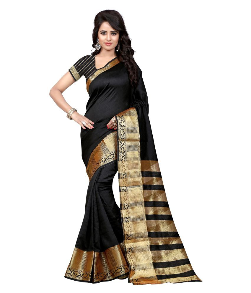 Sunfnl black Cotton Saree