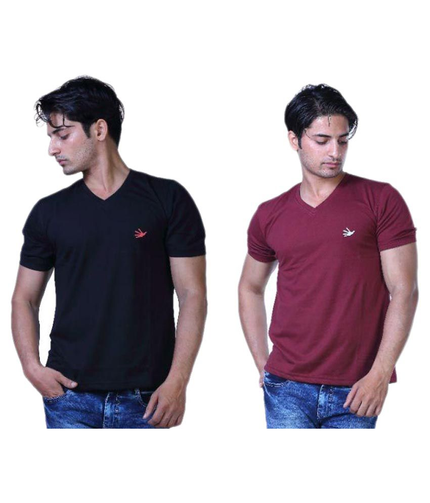 Finger's Multi V-Neck T-Shirt Pack of 2