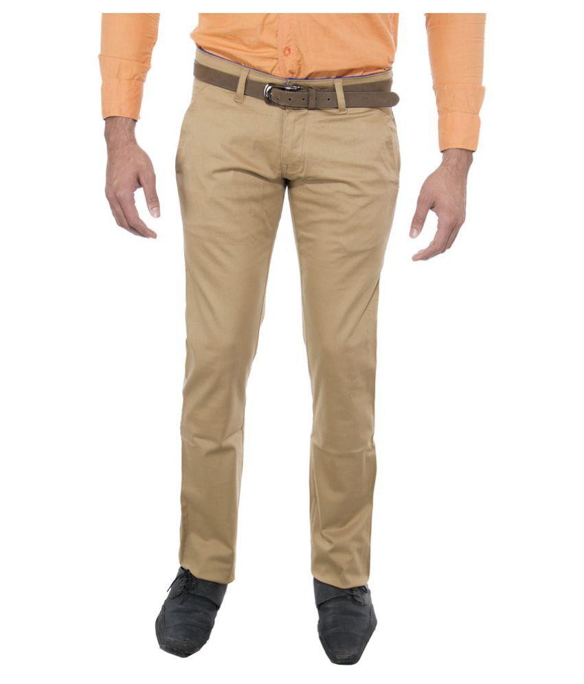 Le Meiux Beige Slim Flat Trouser