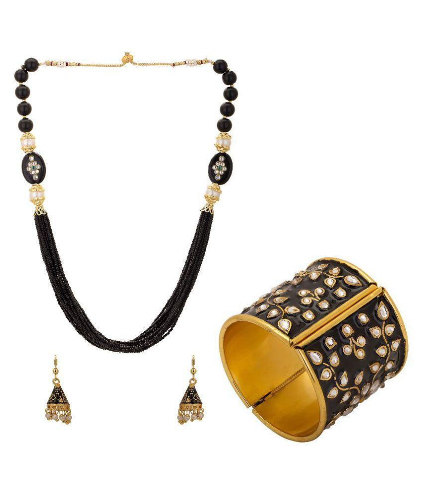 Hashtag Black Necklace Set with Cuff