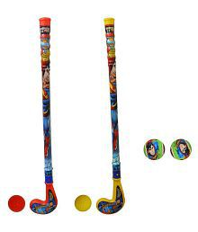 Superman Multicolour Plastic Hockey with 2 Plastic Balls and 2 Superman Tennis