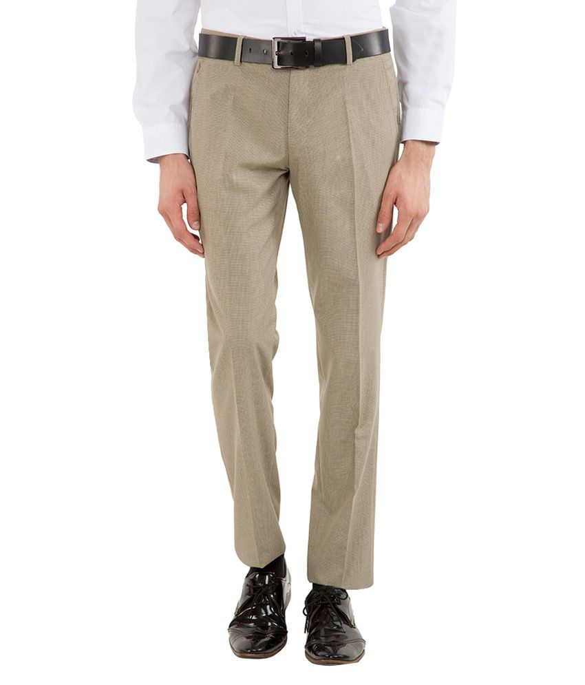 Black Coffee Beige Slim Fit Trousers