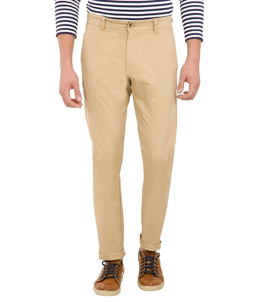 Highlander Beige Slim Fit Trousers