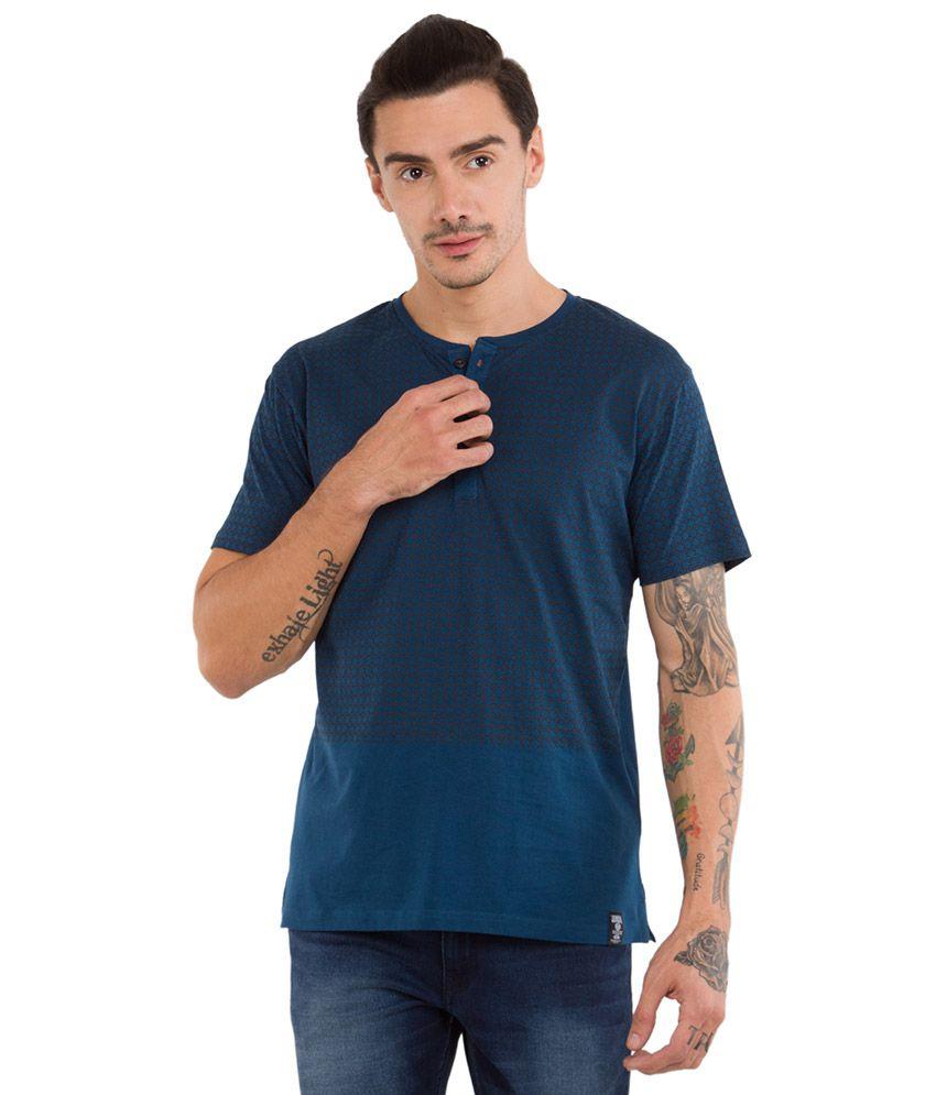 Locomotive Blue Henley Neck T Shirt